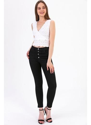 Tiffany&Tomato Düğme Detay Skinny Jean Pantolon - Siyah Siyah